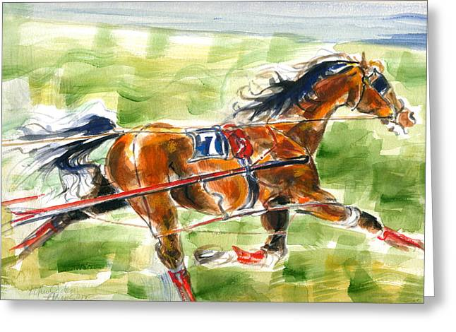 Greeting Card featuring the painting Racer by Mary Armstrong