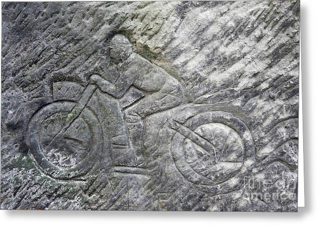 Racer On A Motorbike - Old Rock Relief Greeting Card