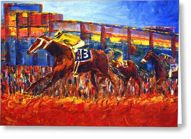 Greeting Card featuring the painting Rachel Alexandra Finish Line by Jennifer Godshalk