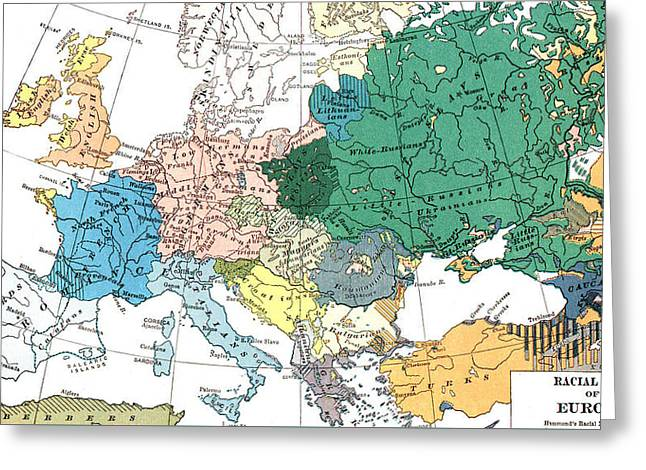 Racial Map Of Europe Circa 1923 Greeting Card by European School