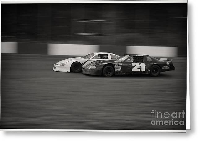 Racing At The Speedway Greeting Card by Wayne Wilton