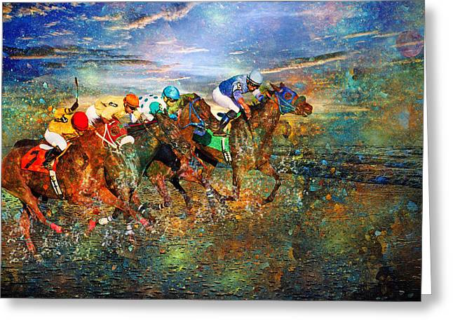 Racing Energy II Greeting Card by Betsy Knapp