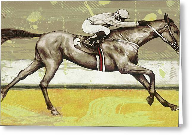 Racing Horse Pop Art Poser Greeting Card