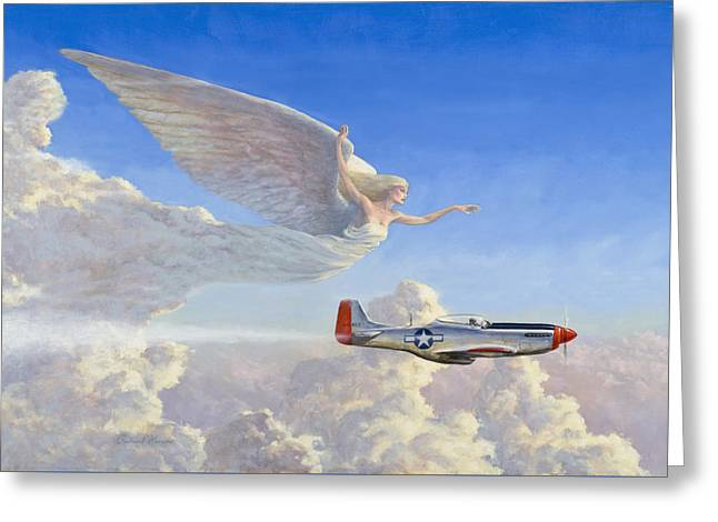 Racing The Wind Greeting Card by Richard Hescox