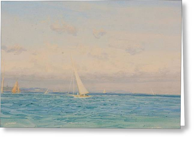Racing Yachts In The Solent Greeting Card