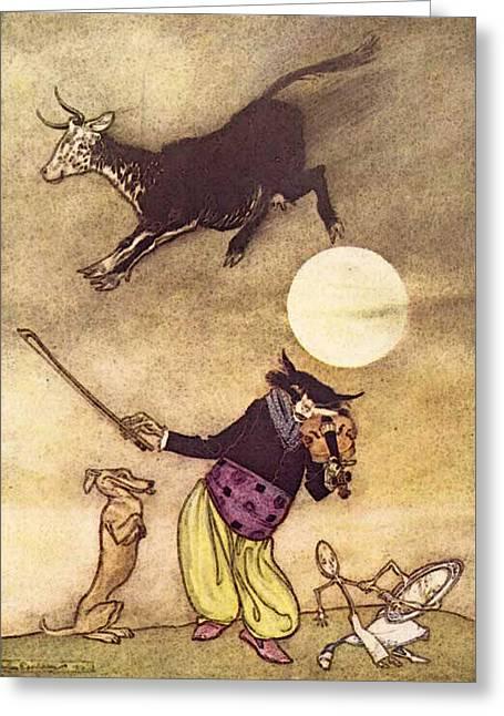 Rackham Arthur Mother Goose The Cow Jumped Over The Moon Greeting Card by Arthur Rackham