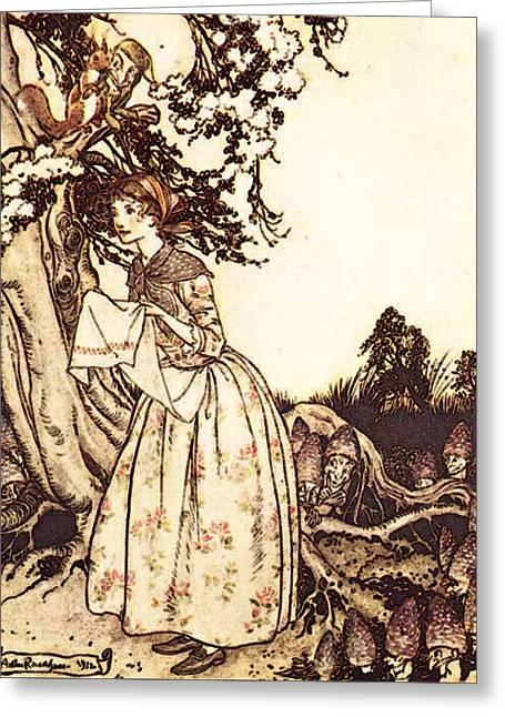 Rackham Arthur Mother Goose The Fair Maid Who The First Of Spring Greeting Card by Arthur Rackham