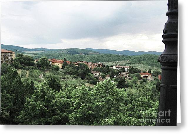 Radda Landscape From Balcony Greeting Card by Linda Ryan