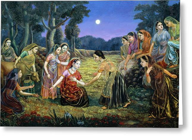 Radha Lamenting With The Gopis Greeting Card by Dominique Amendola