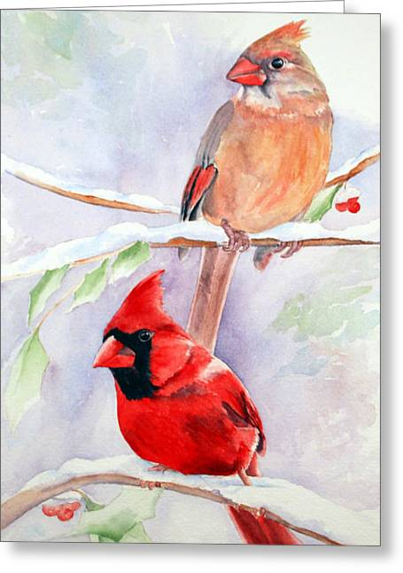 Radiance Of Cardinals Greeting Card