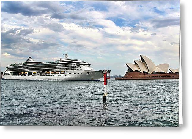 Radiance Of The Seas Passing Opera House Greeting Card by Kaye Menner