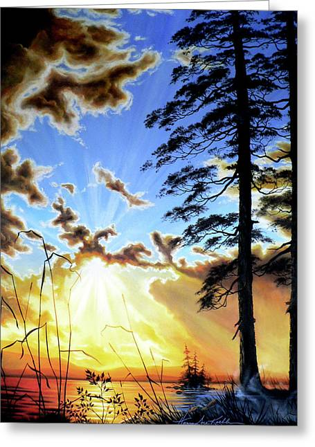 Sunset Posters Greeting Cards - Radiant Reflection Greeting Card by Hanne Lore Koehler