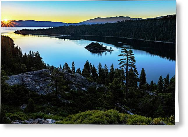 Greeting Card featuring the photograph Radiant Sunrise On Emerald Bay by John Hight