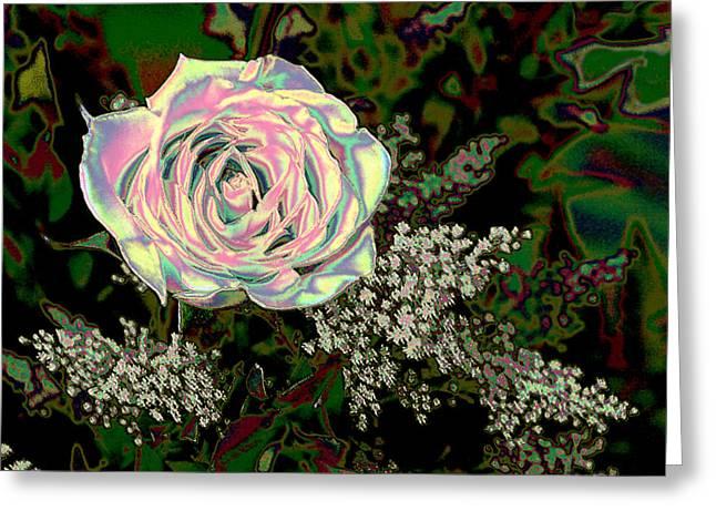 Green Burgandy Greeting Cards - Radient Rose Greeting Card by Linda Phelps