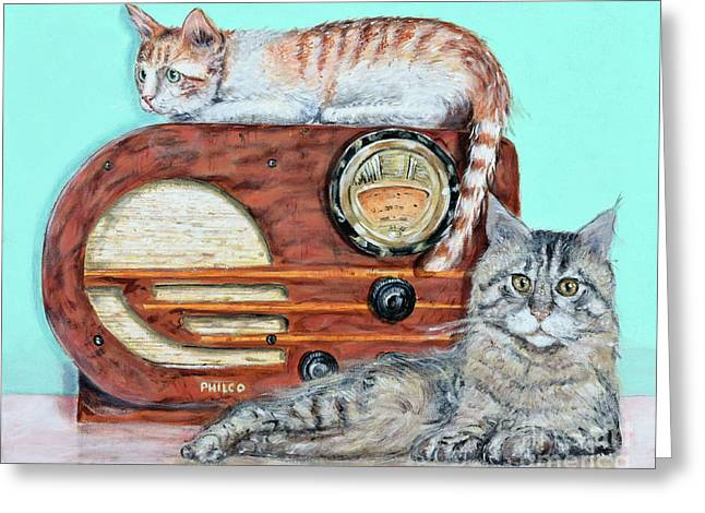 Radio Cats Greeting Card by Chris Dreher