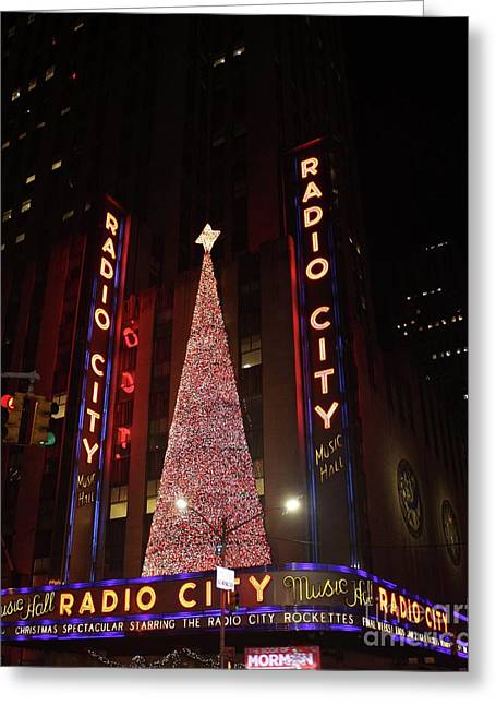 Radio City Music Hall During The Holidays Greeting Card by John Telfer