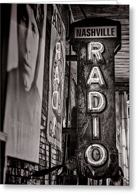 Radio Nashville - Monochrome Greeting Card by Stephen Stookey