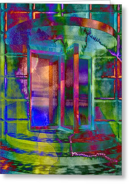 Radioactive Revolving Door Greeting Card by Elaine Plesser