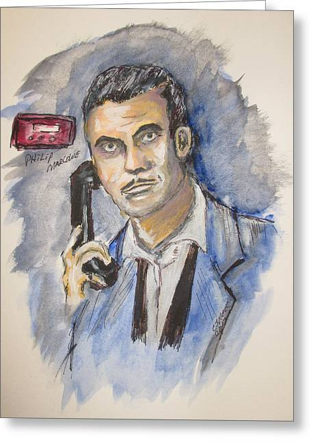 Greeting Card featuring the painting Radio's Philip Marlowe by Clyde J Kell