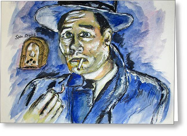 Greeting Card featuring the painting Radio's Sam Spade by Clyde J Kell