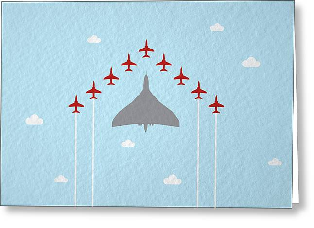 Raf Red Arrows In Formation With Vulcan Bomber Greeting Card by Samuel Whitton