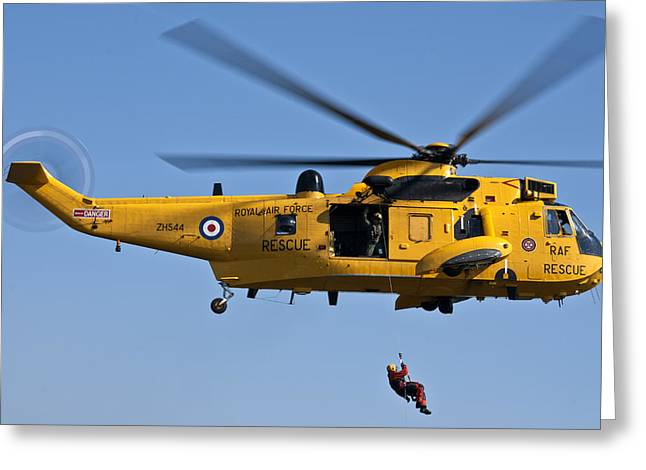 Raf Sea King Search And Rescue Helicopter 2 Greeting Card by Steve Purnell
