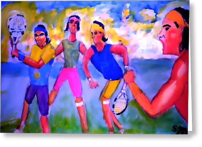 French Open Paintings Greeting Cards - Rafa Tennis at the French Wimbleton and U.S. Open Greeting Card by Stanley Morganstein