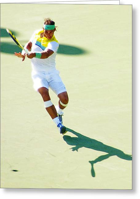 Rafael Nadal Shadow Play Greeting Card by Steven Sparks