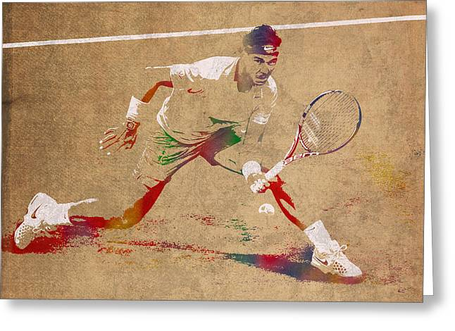 Rafael Nadal Tennis Star Watercolor Portrait On Worn Canvas Greeting Card by Design Turnpike