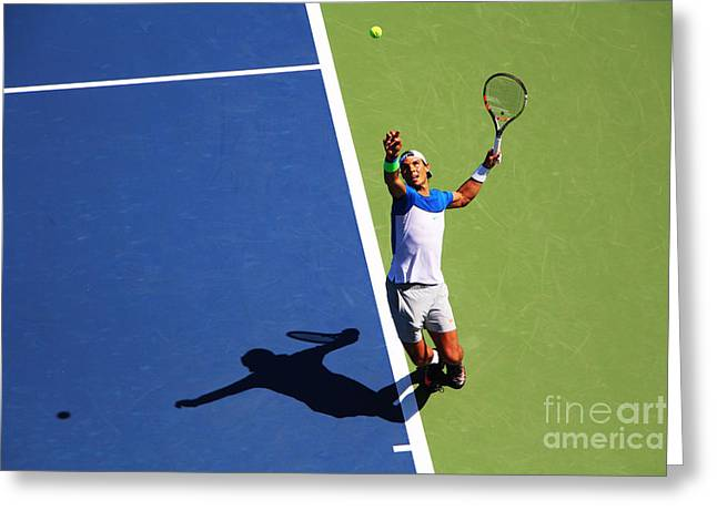 Rafeal Nadal Tennis Serve Greeting Card by Nishanth Gopinathan