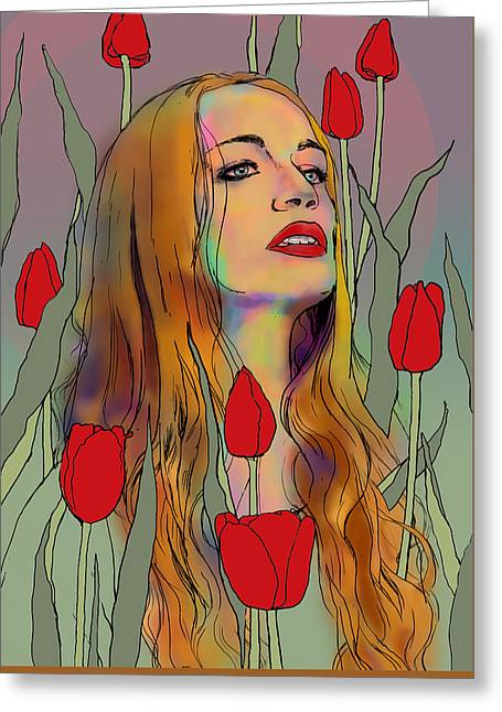 Raffaela In Tulips Greeting Card