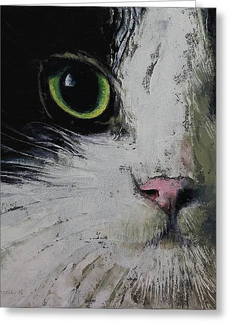 Tuxedo Cat Greeting Card by Michael Creese