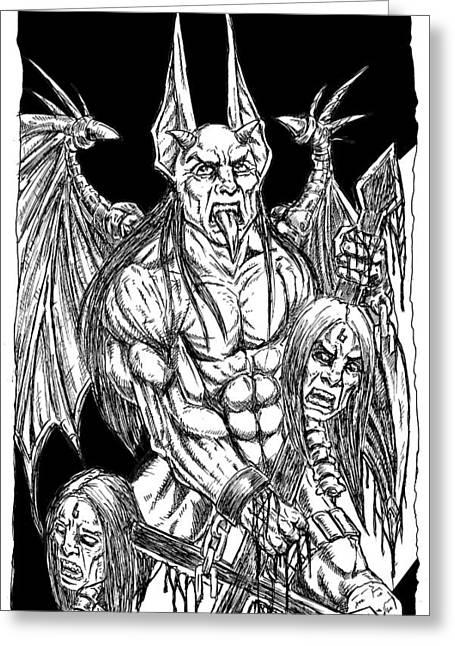 Rage Of An Angel Black Greeting Card by Alaric Barca