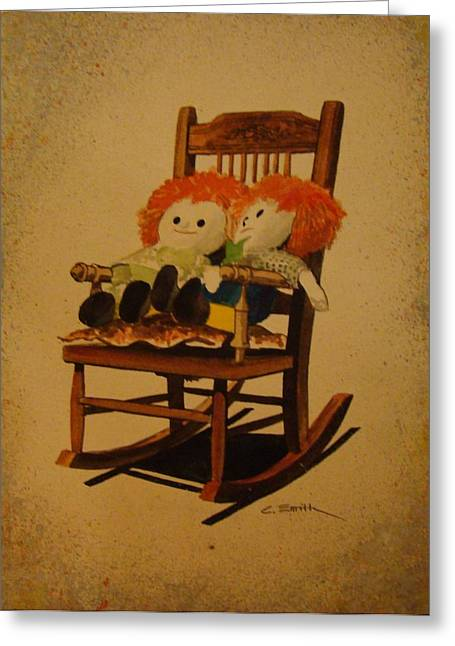 Raggedy Ann And Raggedy Andy Take A Break Greeting Card by Charles Roy Smith