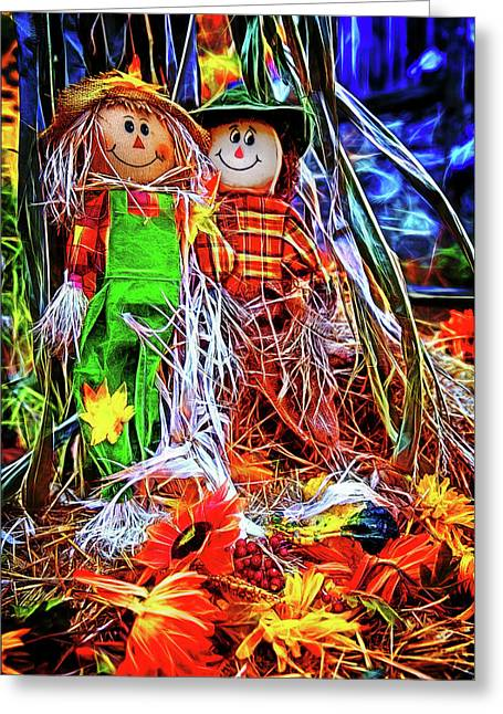 Raggedy Scarecrows Ann And Andy Greeting Card by John Haldane