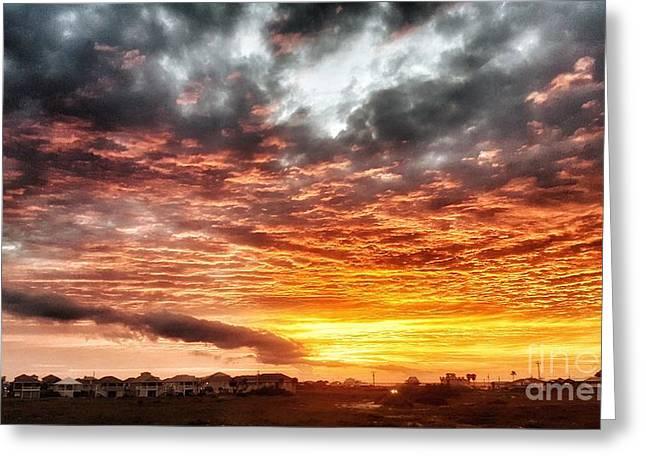 Raging Sunset Greeting Card