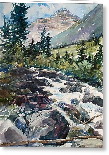 Greeting Card Featuring The Painting Raging Water By Renae Hill
