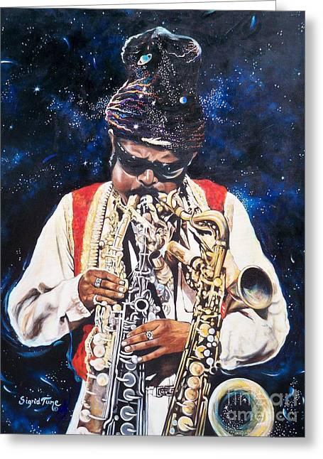 Rahsaan Roland Kirk- Jazz Greeting Card by Sigrid Tune