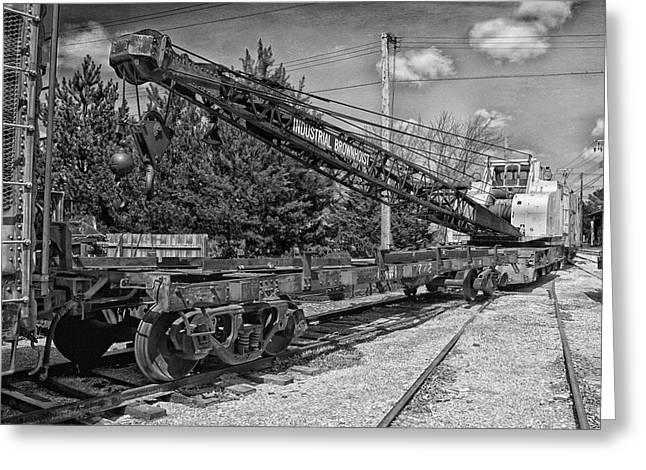 Rail Crane Black And White Greeting Card by Thomas Woolworth