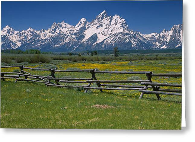 Rail Fence On A Landscape, Grand Teton Greeting Card by Panoramic Images