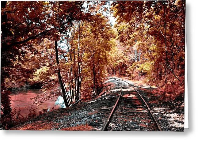 Rail Digital Art Greeting Cards - Rail Road along Brandywine Creek Greeting Card by Bill Cannon