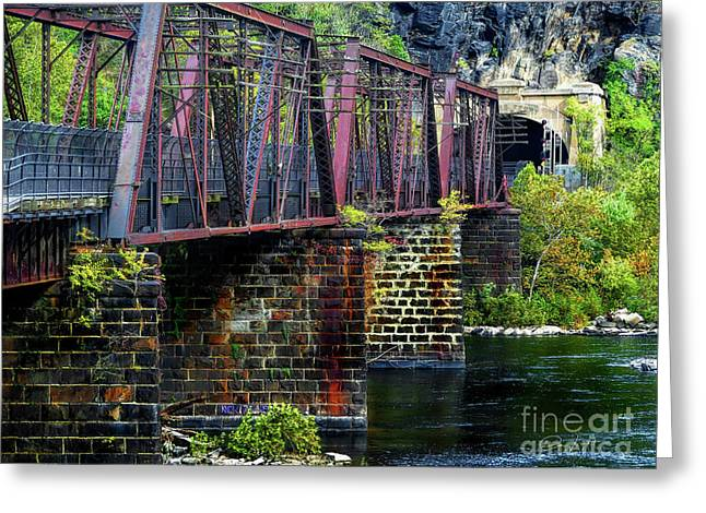 Rail Road Bridge Over The Potomac River At Harpers Ferry, Wv Greeting Card by Elijah Knight