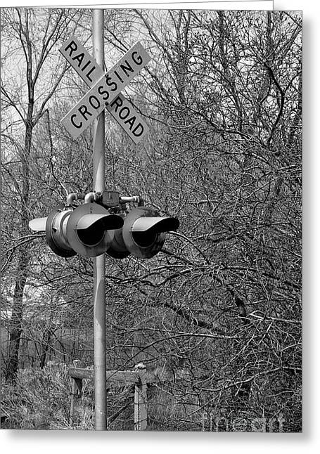 Greeting Card featuring the photograph Rail Road Crossing by Juls Adams