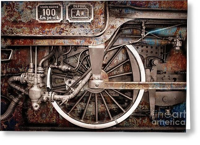 Rail Wheel Grunge Detail,  Steam Locomotive 06 Greeting Card
