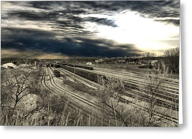 Train Yard Greeting Cards - Rail Yard 4 Greeting Card by Scott Hovind