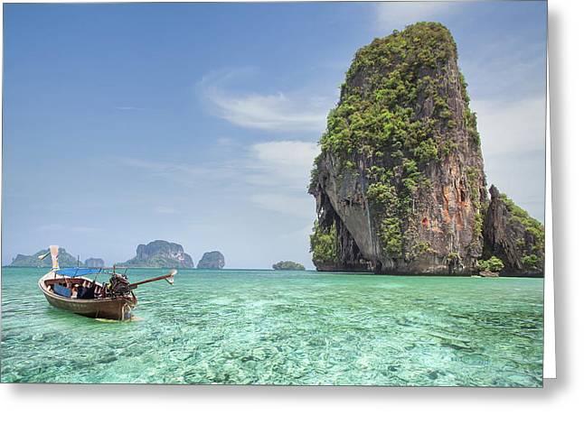 Railay Beach In Krabi Thailand Greeting Card by Anek Suwannaphoom