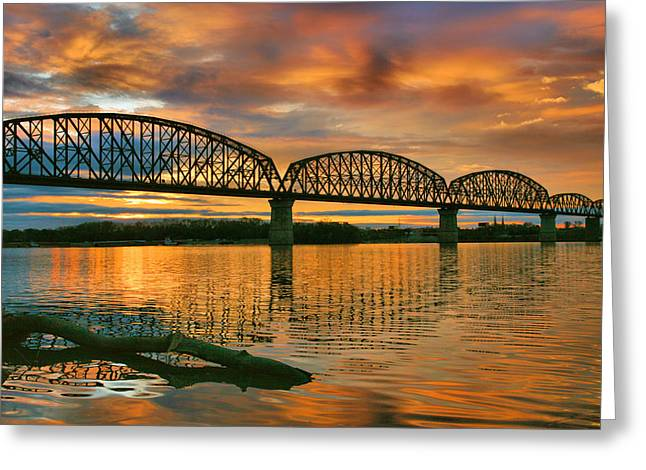 Railroad Bridge At Sunrise Greeting Card by Steven Ainsworth