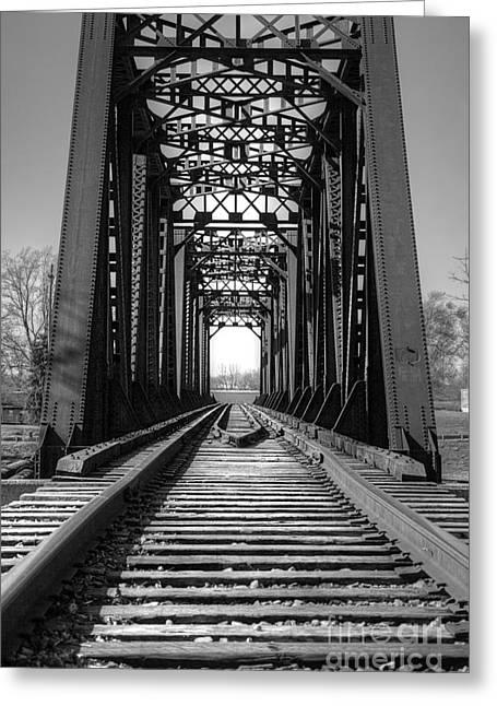 Railroad Bridge Black And White Greeting Card