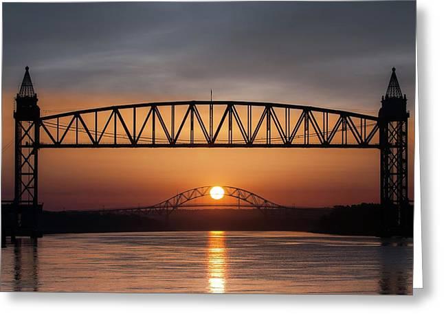 Railroad Bridge Framing The Bourne Bridge During A Sunrise Greeting Card