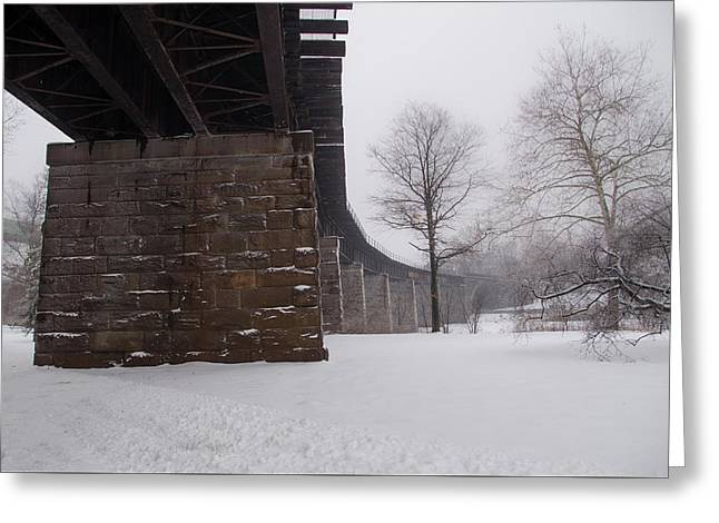 Railroad Bridge In East Falls Philadelphia In Winter Greeting Card by Bill Cannon